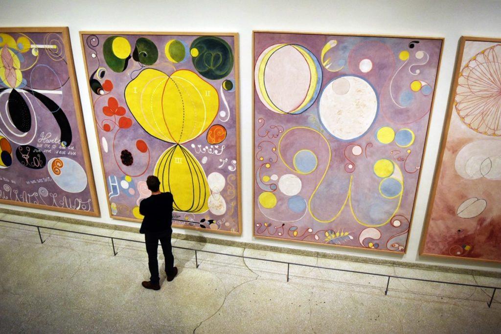"Installation view of Hilma af Klint's ""The Ten Largest."" Image courtesy of Ben Davis."