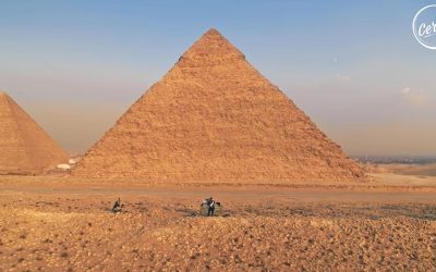 Sébastien Léger at the Great Pyramids of Giza, in Egypt for Cercle